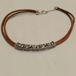 Silver and leather choker